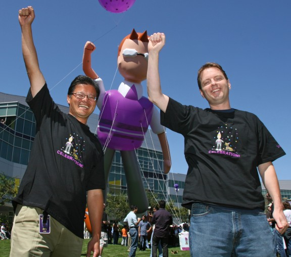 Yahoo! Inc. co-founders Jerry Yang, left, and David Filo celebrate the launch of the new Yahoo! Mail, Monday, August 27, 2007, in front of a ballon featuring the new email character LIAM, mail spelled backwards, at a company event in Sunnyvale, Calif. With the rollout starting today, the new Yahoo! Mail is the biggest overhaul of the popular Web mail service in ten years, and will now feature a new interface, integrated instant messaging and text messaging to mobile phones in the US, Canada, India and the Philippines. (Photo for Yahoo! by Court Mast)