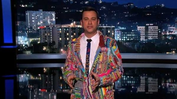 Jimmy Kimmel in Rainbow Loom suit