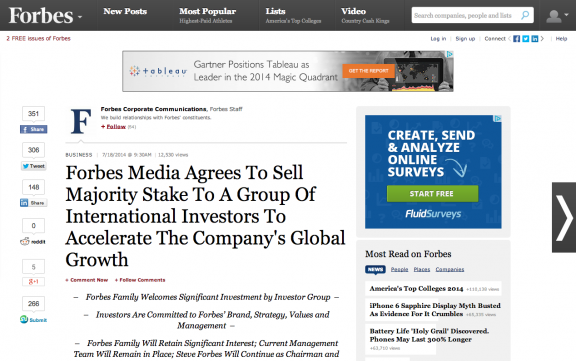 News: Forbes Media sold on Forbes.com