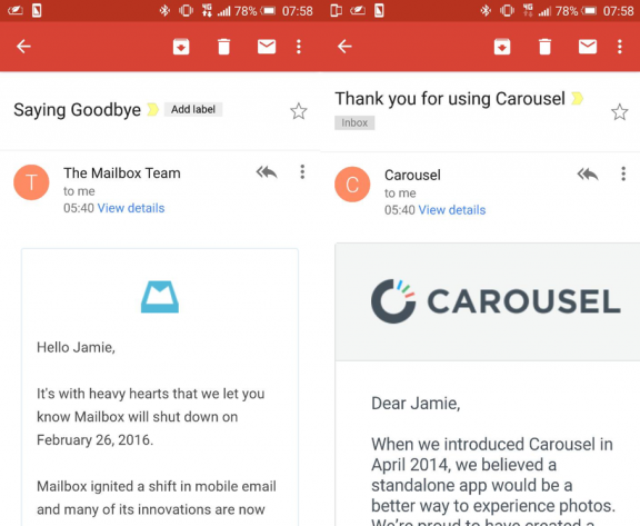 Dropbox killed Mailbox & Carousel