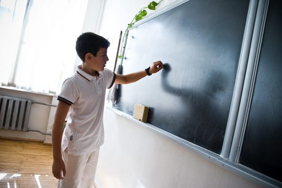 Writing on a black board